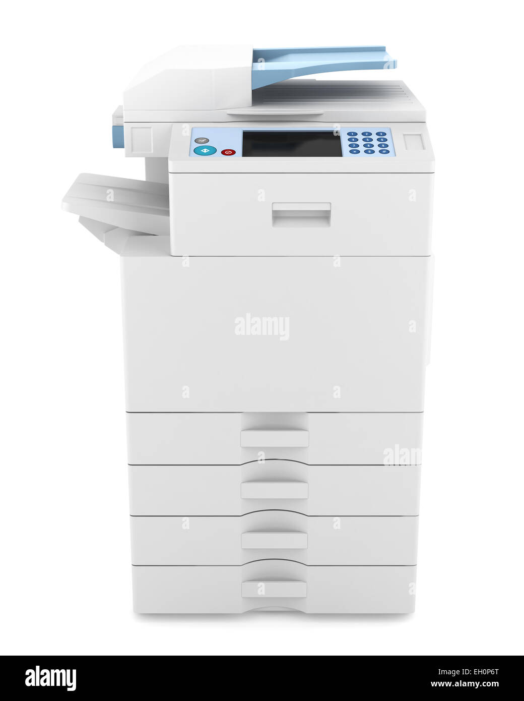 modern office multifunction printer isolated on white background - Stock Image