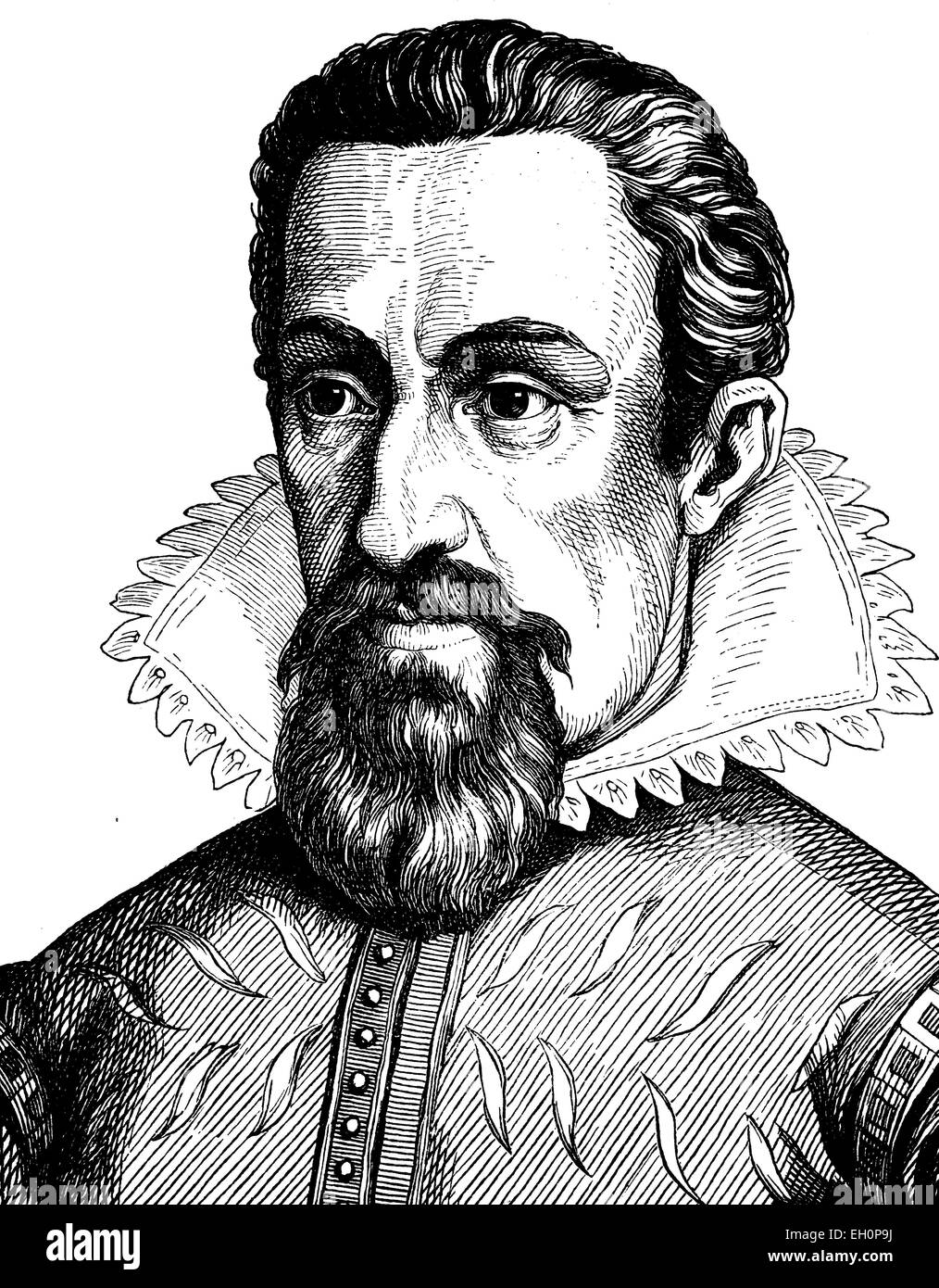 Digital improved image of Johannes Kepler, 1571 - 1631, portrait, historic illustration, 1880 - Stock Image