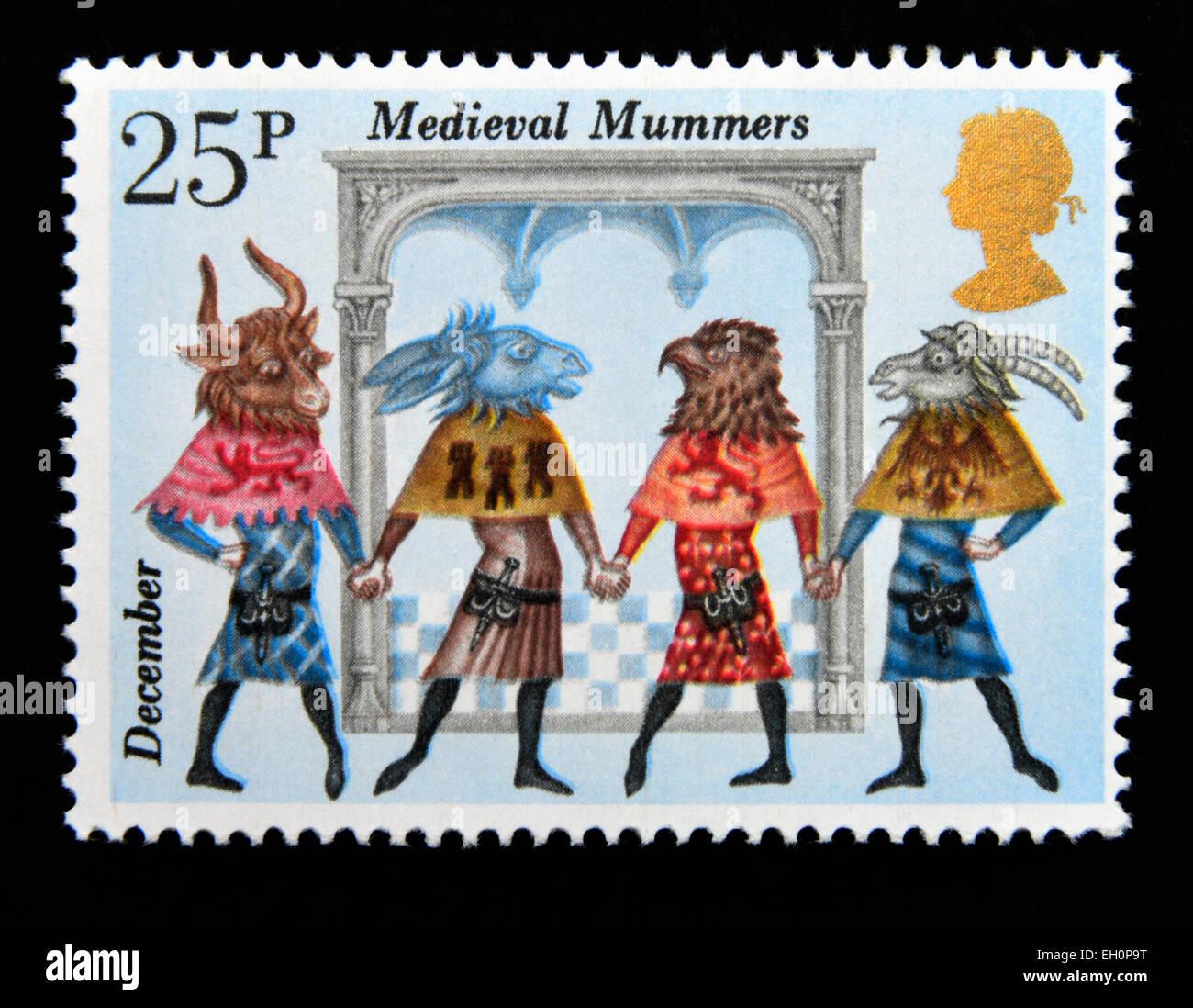 Postage stamp. Great Britain. Queen Elizabeth II. 1980. Folklore. Medieval Mummers. December. 25p. - Stock Image