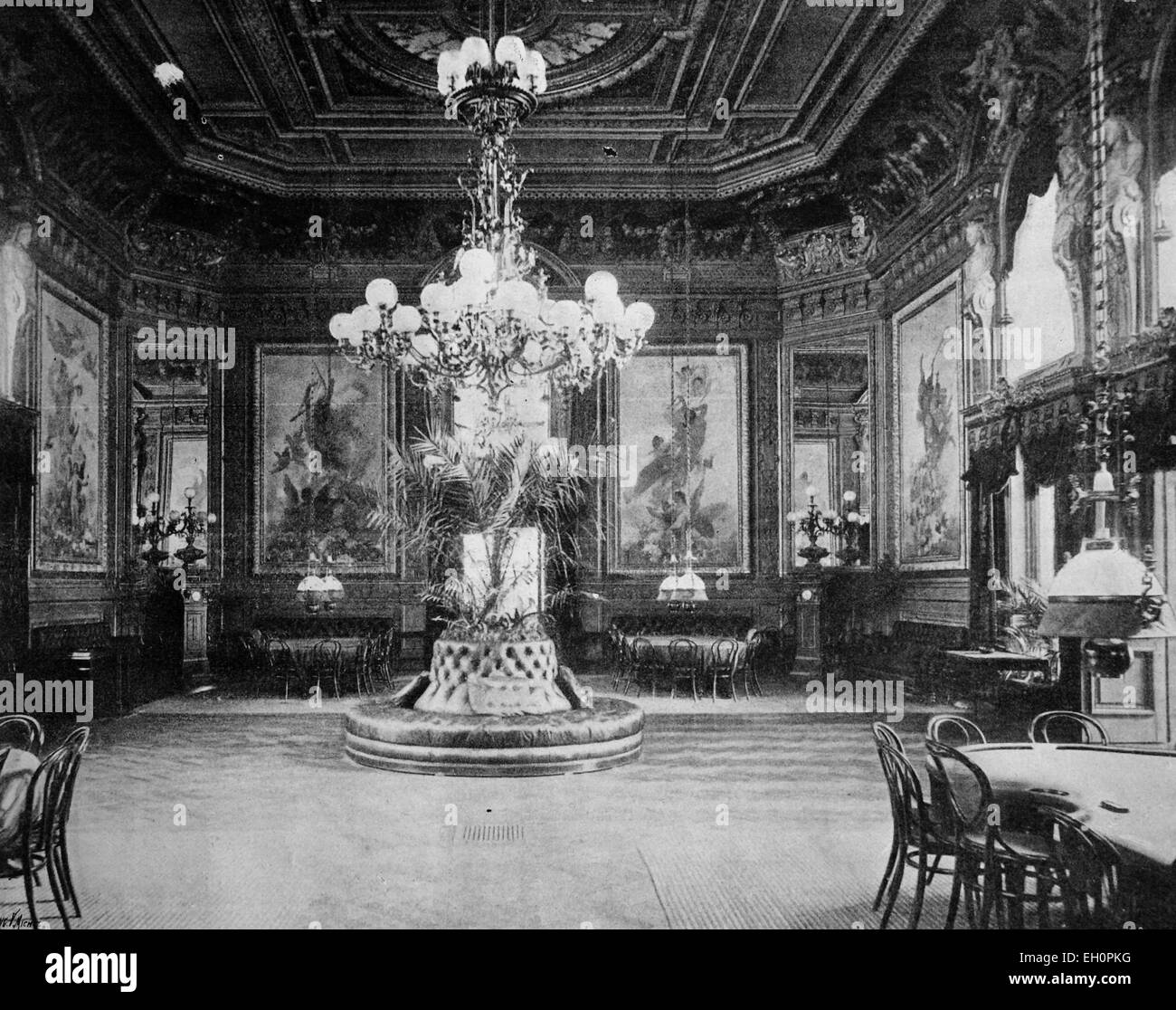 Early autotype of the La Salle des Jeux in Aix-les-Bains, Rhone-Alpes, France, historical photo, 1884 - Stock Image