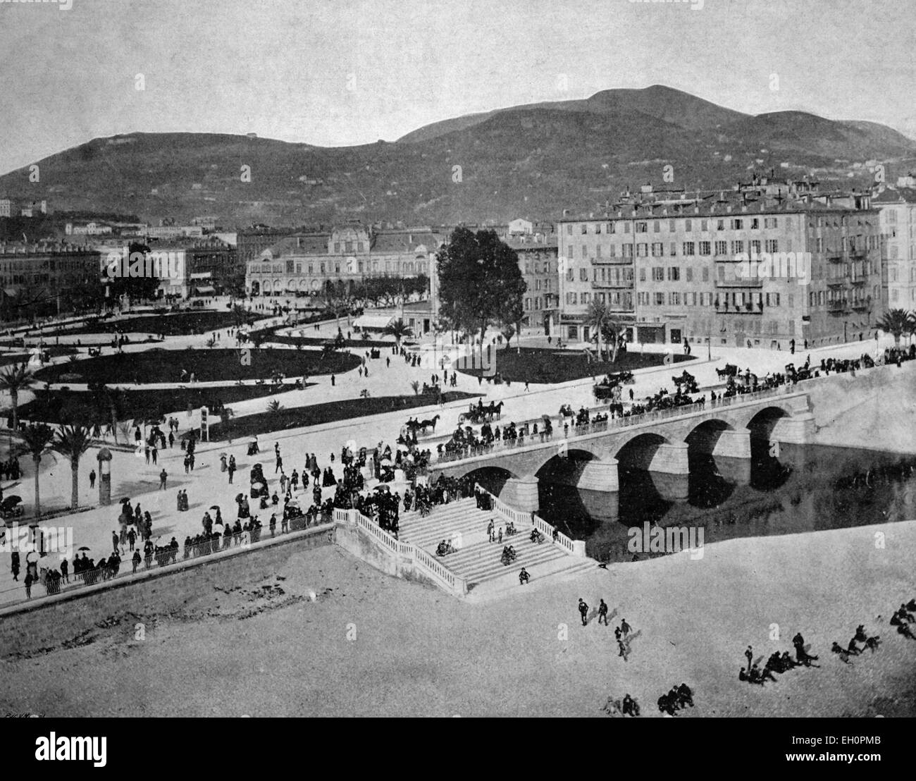 Early autotype of the Le Jardin Public park, Nice, France, historical photo, 1884 - Stock Image