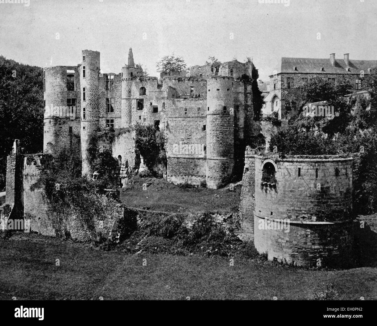 Early autotype of Beaufort Castle in Beaufort, Luxembourg, historical photo, 1884 - Stock Image
