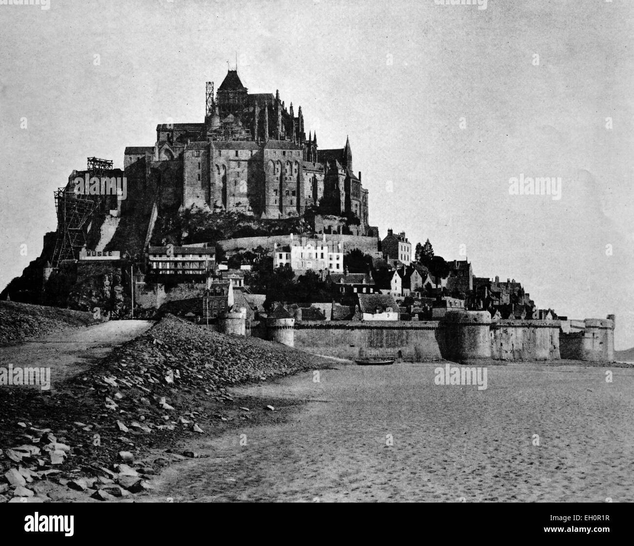 Early autotype of Mont Saint-Michel, Normandy, UNESCO World Heritage Site, France, historical photo, 1884 - Stock Image