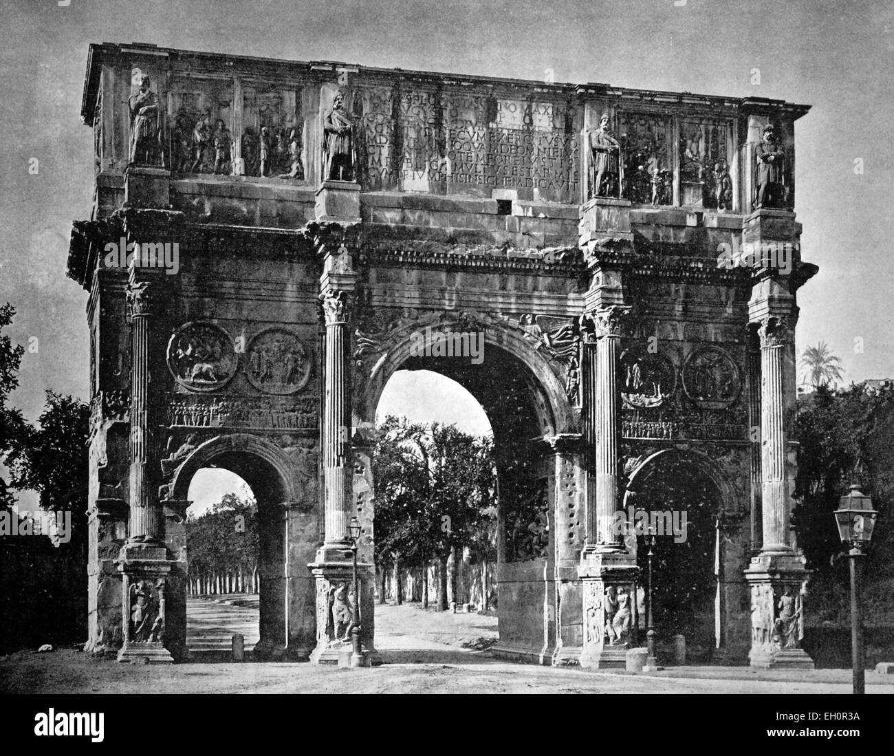 Early autotype of the Arch of Constantine, Rome, Lazio, Italy, historical photograph, 1884 - Stock Image