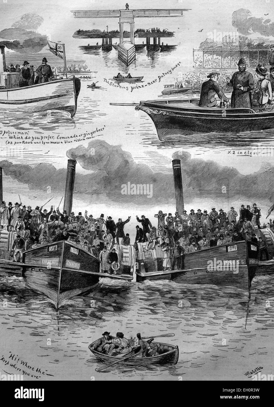 Oxford and Cambridge Boat Race, England, historical illustration, 1884 - Stock Image