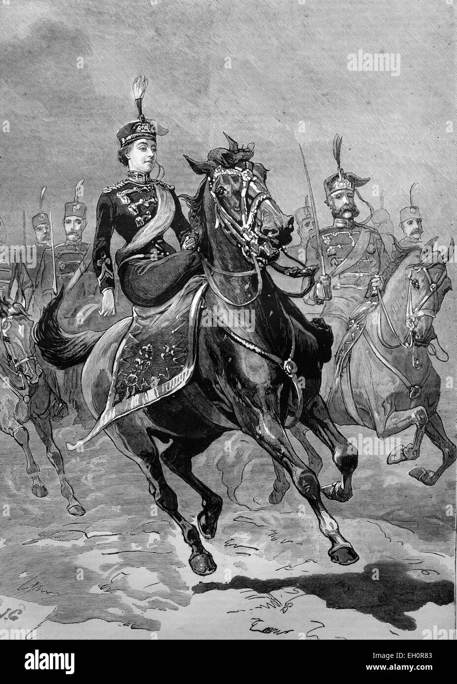 The Imperial Princess at the head of her regiment of Hussars, Germany, historical illustration, 1884 - Stock Image