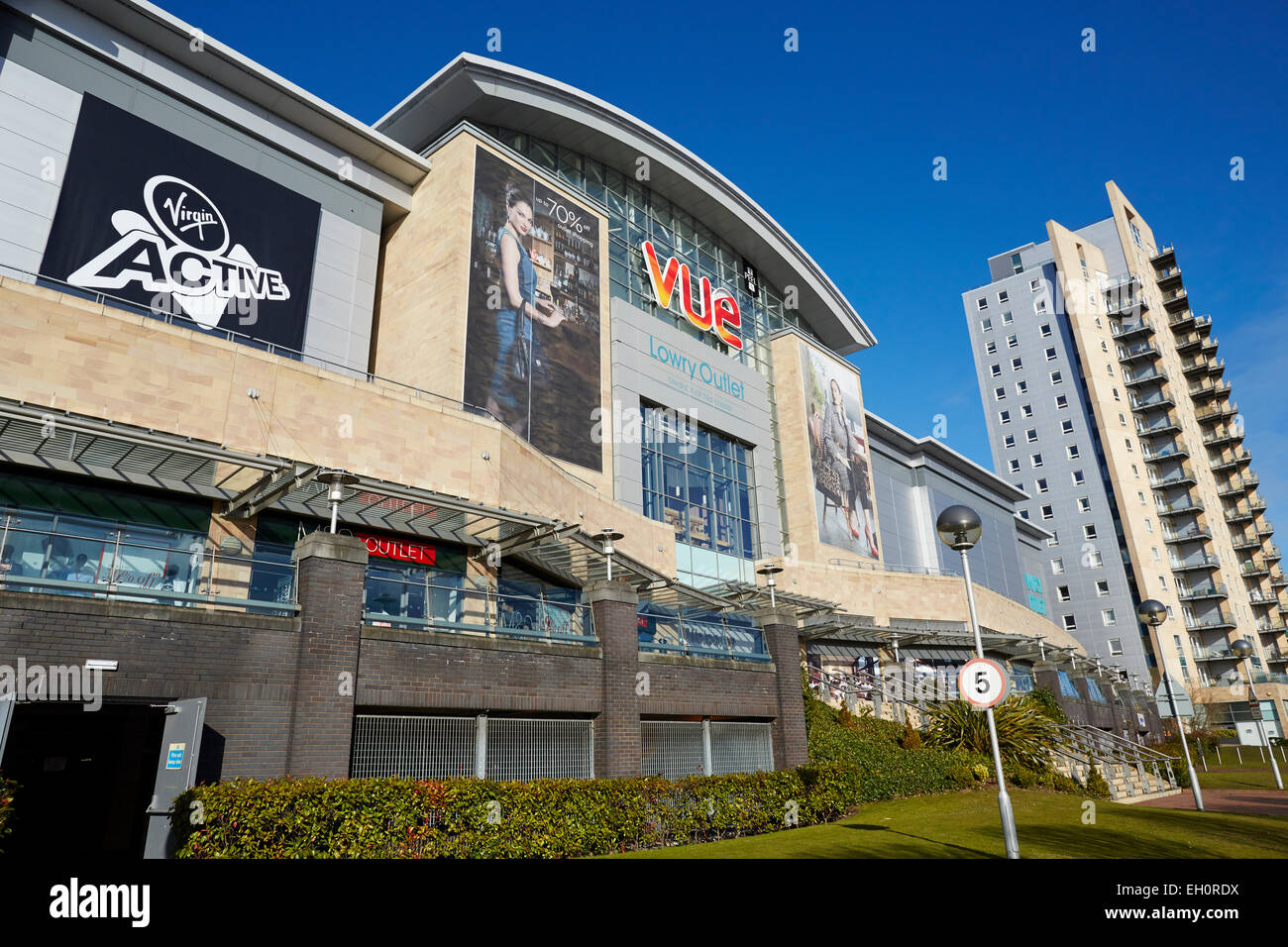 2b44697a172 Lowry Outlet Mall at Media City Salford Quays Gtr Manchester UK. Vue cinema  entrance