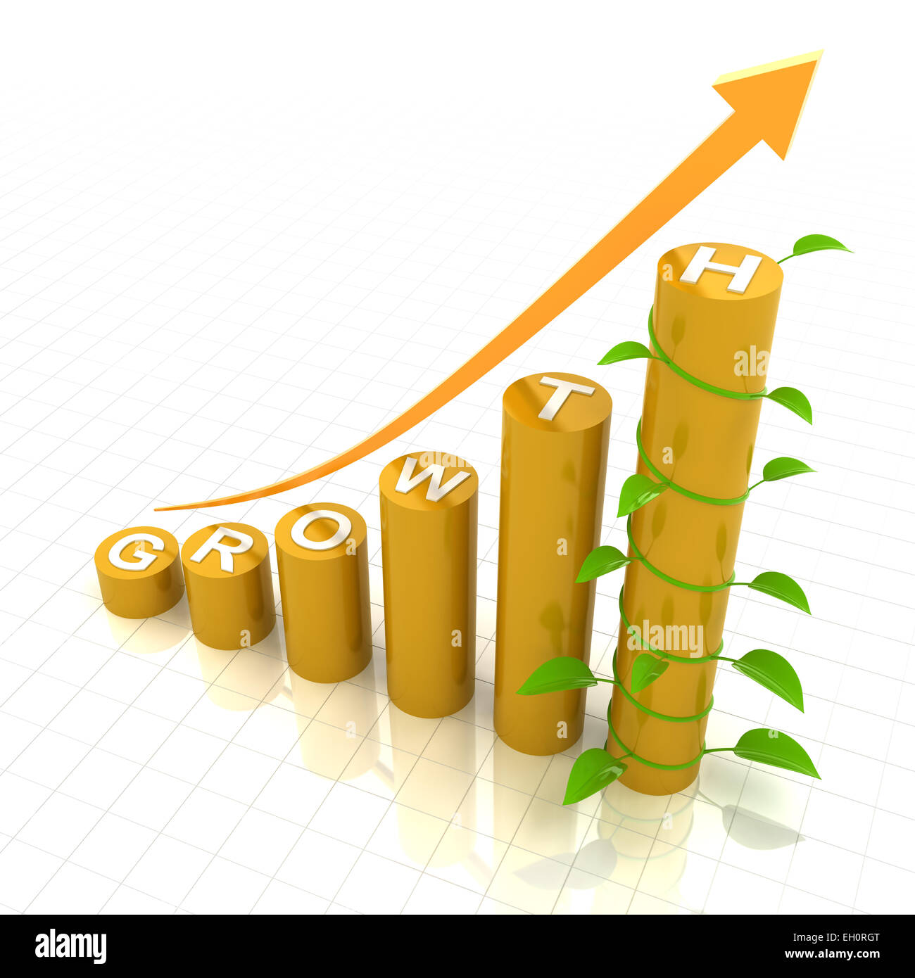 Growth chart with young plant, 3d render - Stock Image