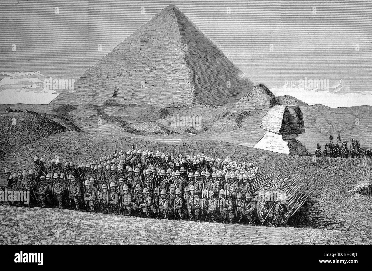 The war in Egypt, second battalion Highland light infantry picknicking at the Pyramids, Egypt, historic image, 1883 - Stock Image