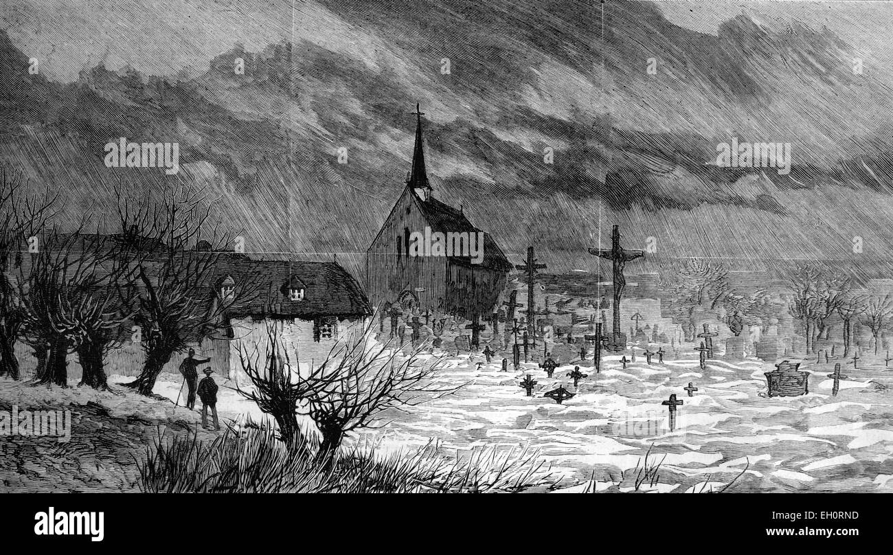 The disastrous floods in Austria and Hungary 1893, a flooded churchyard at Raab, historic image, 1883 - Stock Image