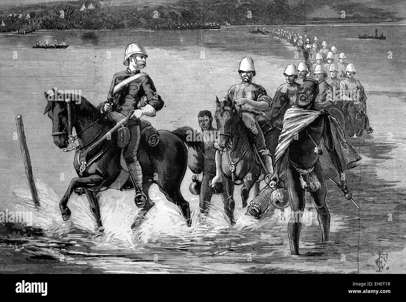 The restoration of Catewayo, the military escort crossing the Tugela River, South Africa, on their way to meet theStock Photo