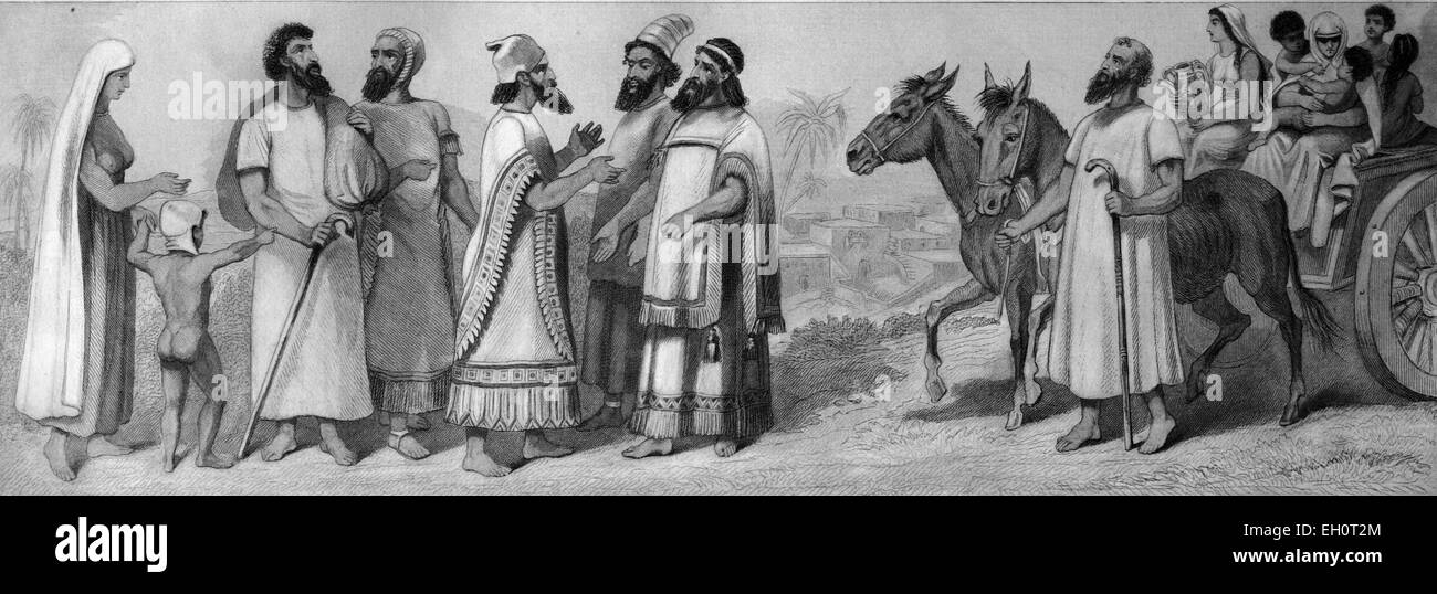 Cultural history, people of the past: Hebrews left, right ancient Jewish wagon, historical illustration - Stock Image