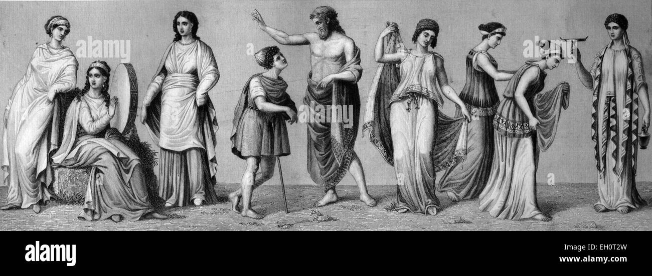 Ancient Greek costumes: various garments of splendor, combined chitons, historical illustration - Stock Image