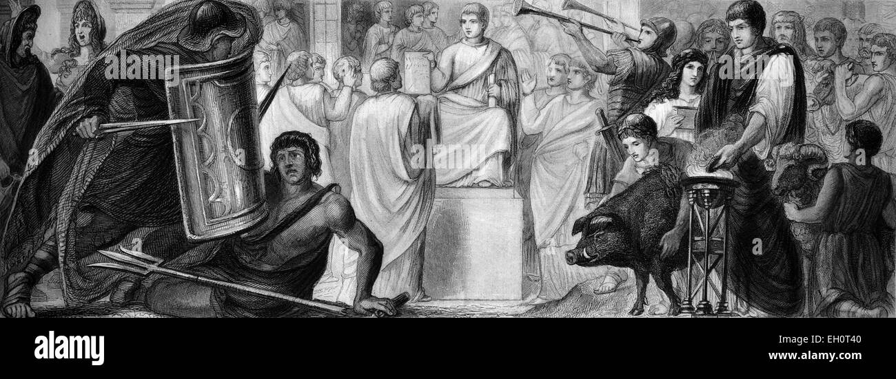 Cultural history of ancient Rome, from left: gladiators, court session, public offering, historical illustration - Stock Image