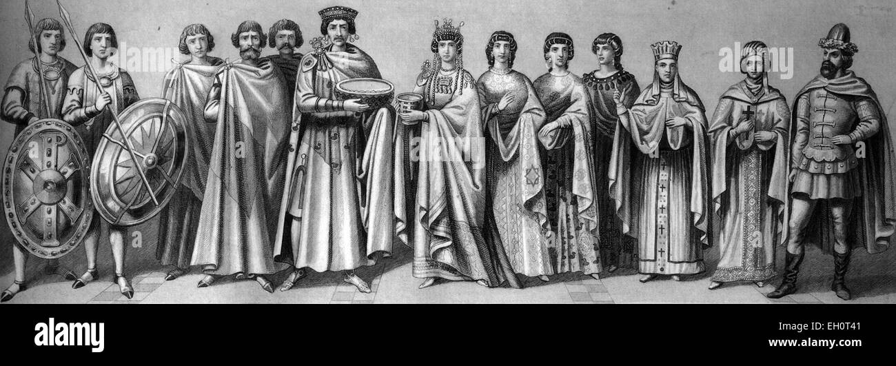 Cultural history in antiquity, from left: Roman Emperor Justinian, 484-565, with court officials and guard, his - Stock Image