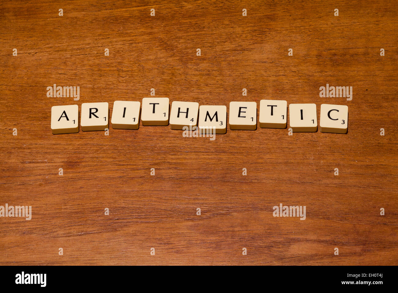 Game letter tiles spelling out arithmetic - Stock Image