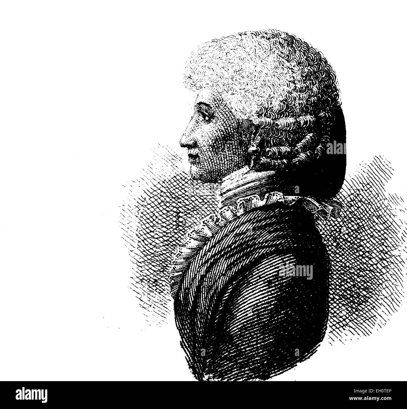 Hair fashion: women's hair style in 1800, historical illustration - Stock Image