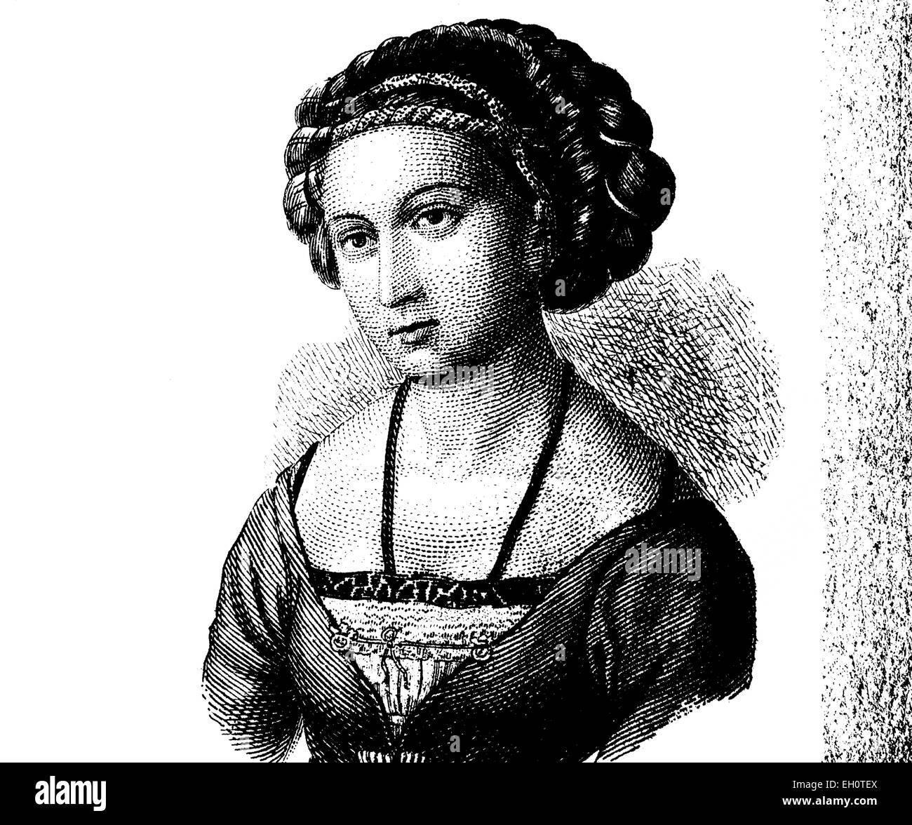 Fashion in the Middle Ages: hair style around 1500, historical illustration Stock Photo