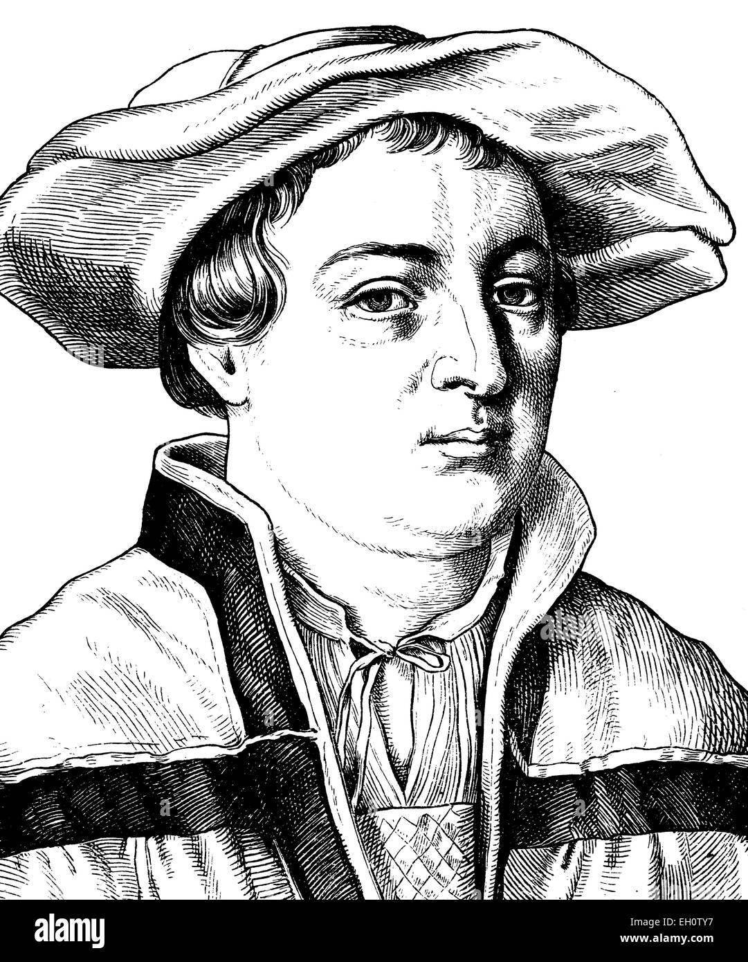 Digital improved image of Hans Holbein the Younger, 1497 - 1554, German painter, portrait, historical illustration, - Stock Image