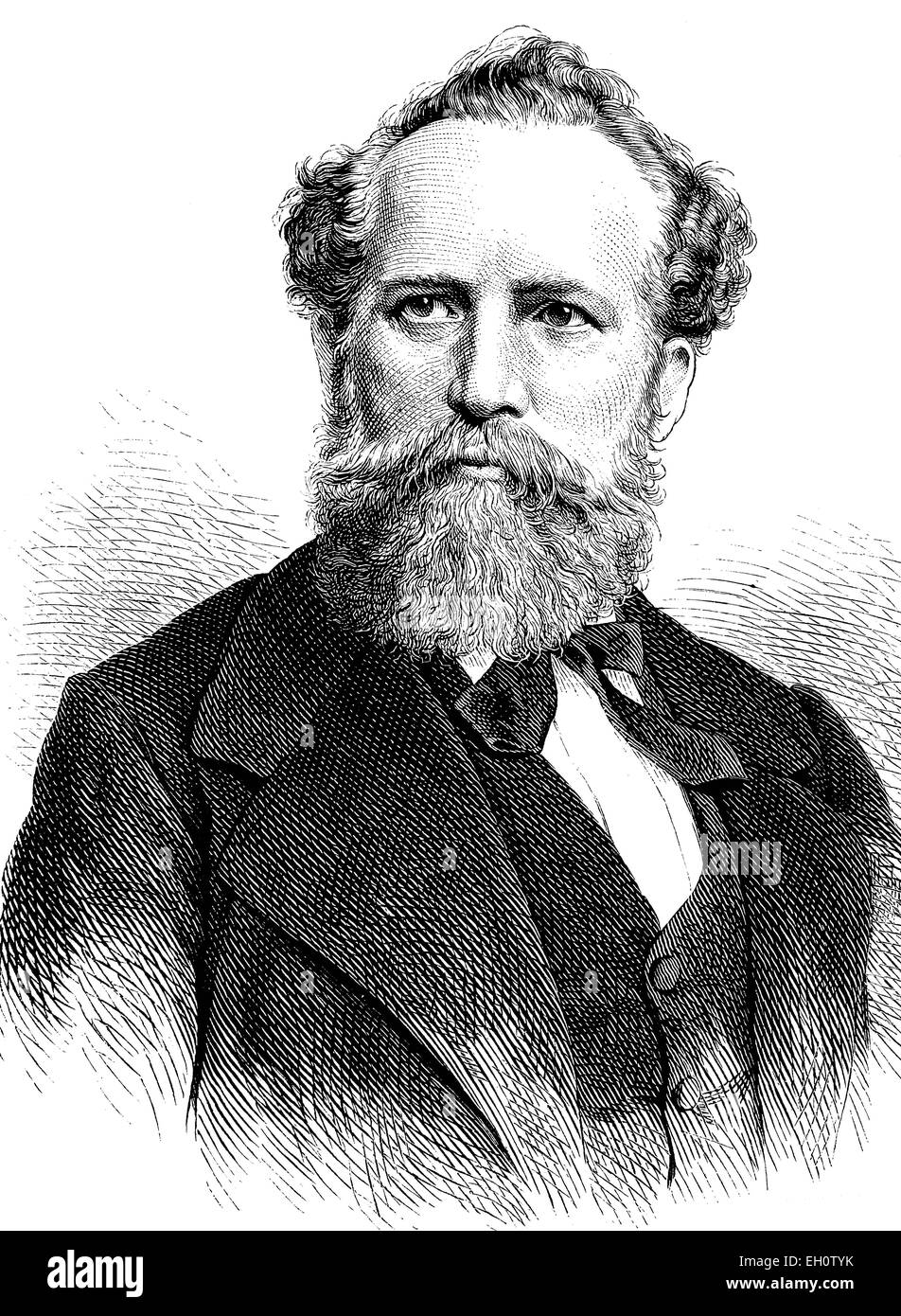 Emil Palleske, 1823-1880, actor and writer, historical illustration, circa 1886 Stock Photo