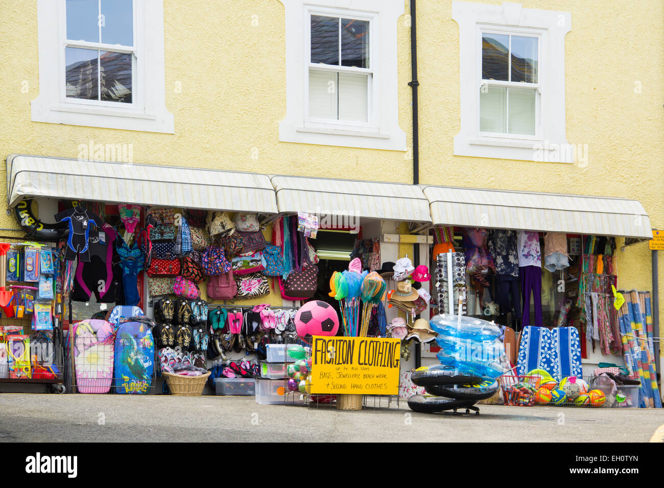 Front-of-shop display at unnamed fancy goods and clothes shop on White Street in New Quay, Ceredigion, Wales. - Stock Image