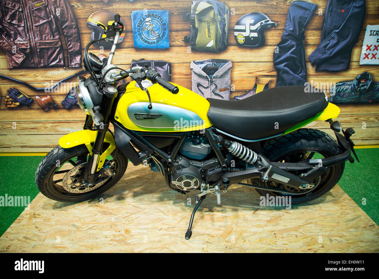 ISTANBUL, TURKEY - FEBRUARY 27, 2015: Ducati Scrambler motorcycle on display at Eurasia motobike expo, CNR Expo - Stock Image