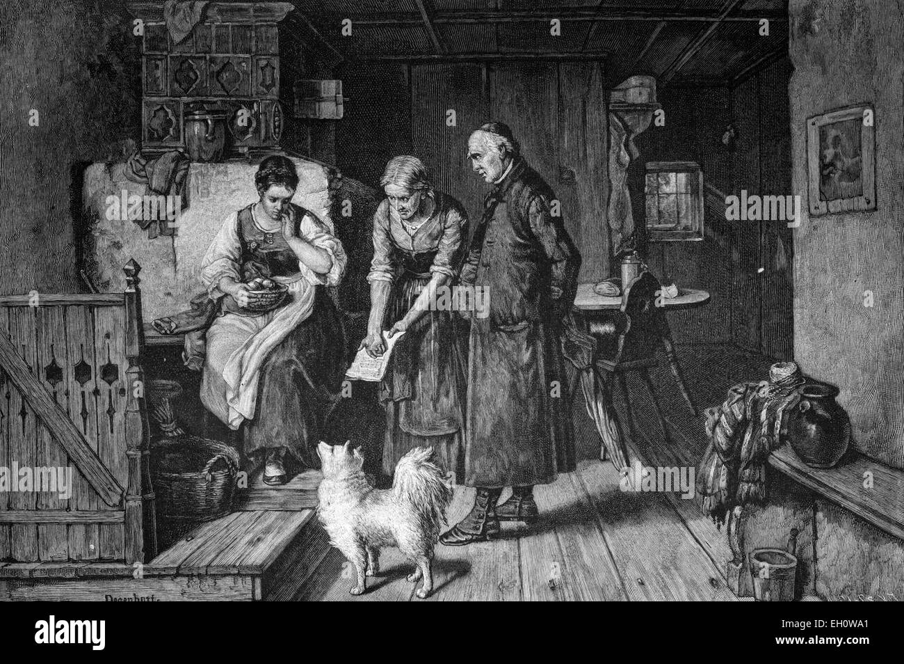 The discovered love letter, historical illustration, about 1886 - Stock Image
