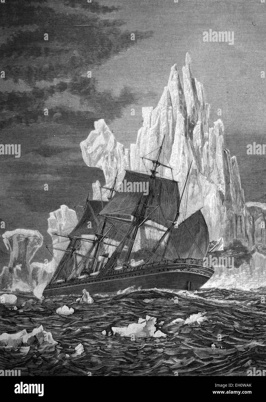 Sailing ship facing an iceberg, historical illustration, about 1886 - Stock Image