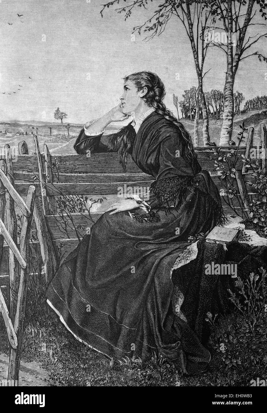 Pensive woman, historical illustration, about 1886 - Stock Image