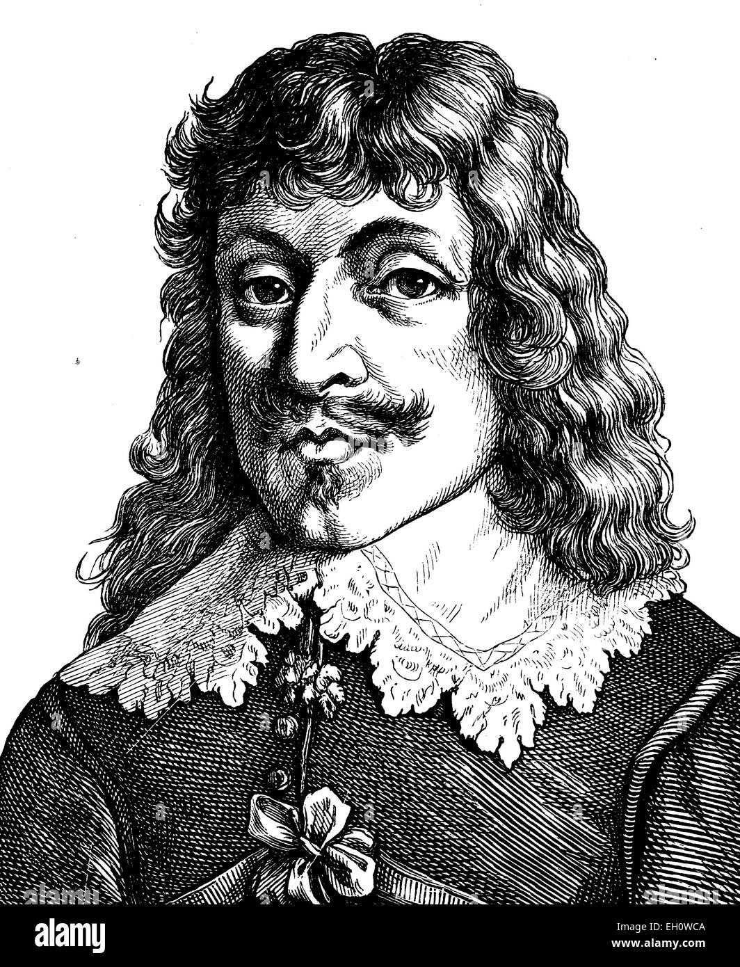 Digital improved image of Paul Flemming, Fleming, 1609 - 1640, poet, physician and writer, portrait, historical - Stock Image