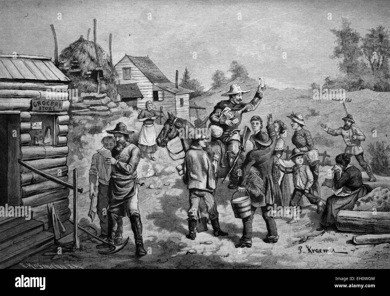 The first postman arriving at a new settlement in the Wild West, America, historical illlustration, about 1886 - Stock Image