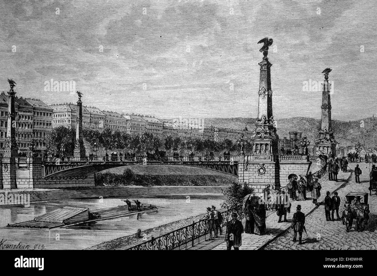 Stefaniebruecke bridge across the Danube Canal in Vienna, Austria, historical illlustration, about 1886 - Stock Image