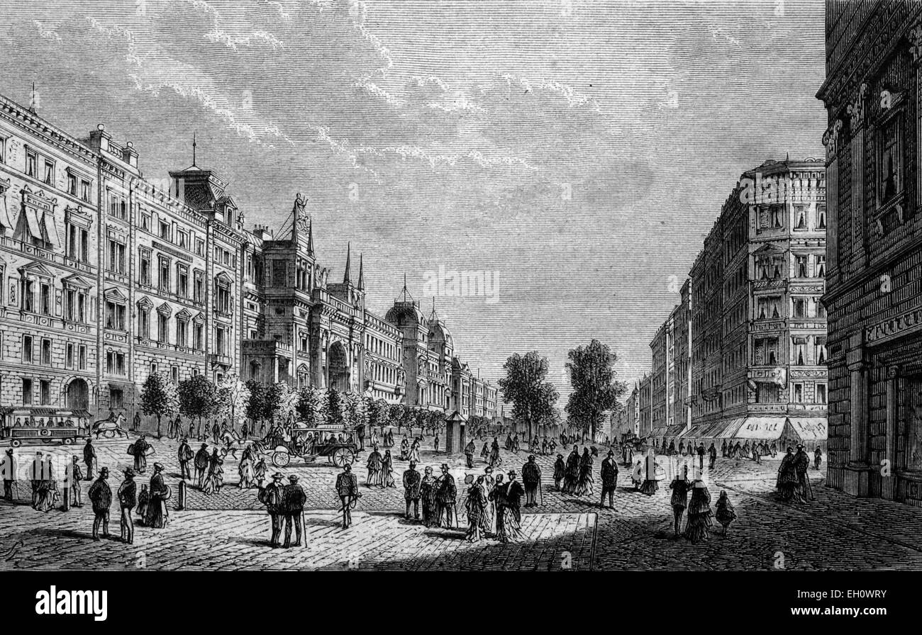 Schottenring with the Ring Theater in Vienna, Austria, historical illustration, circa 1886 - Stock Image