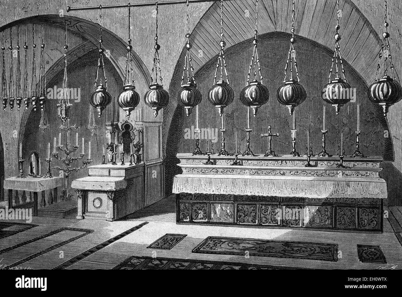 Calvary in the Church of the Holy Sepulchre in Jerusalem, historical illustration, circa 1886 - Stock Image