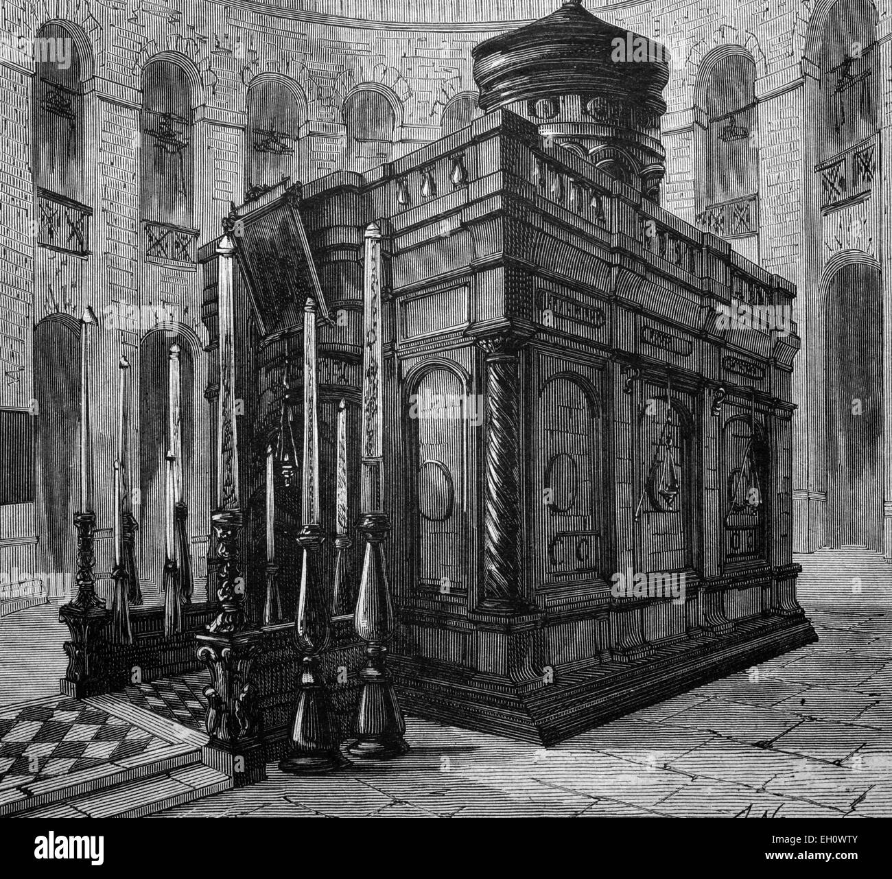 Grave chapel in the Church of the Holy Sepulchre in Jerusalem, historical illustration, circa 1886 - Stock Image