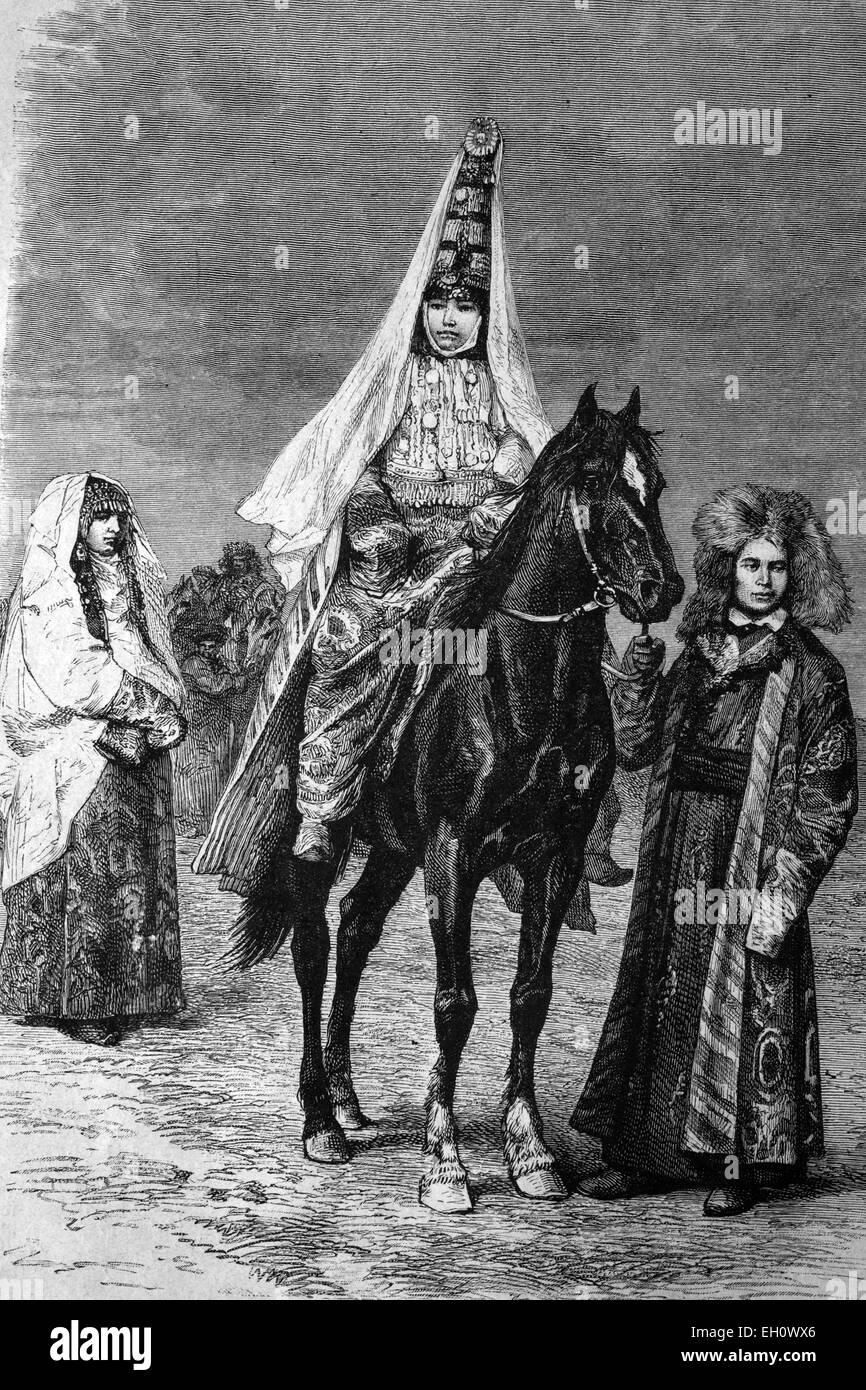 A Kyrgyz bride, Kyrgyzstan, historical illustration, circa 1886 - Stock Image