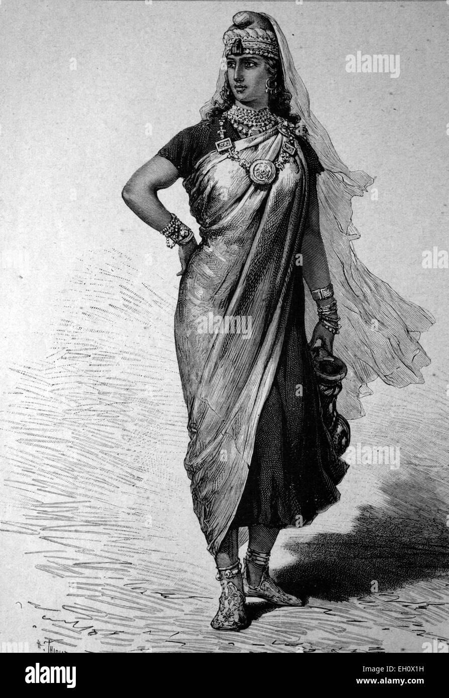 Woman from Ghadames, Libya, historical illustration, circa 1886 - Stock Image