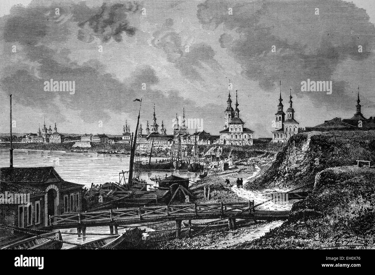 Arkhangelsk in northern Russia, historical illustration, circa 1886 - Stock Image