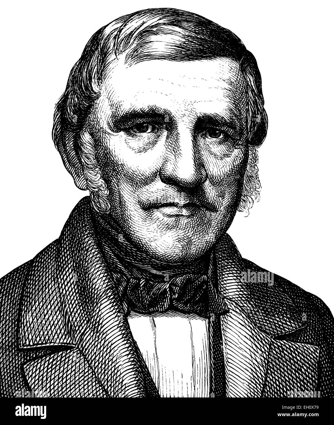 Digital improved image of Johann Franz Encke, 1791 - 1865, astronomer, portrait, historical illustration, 1880 - Stock Image