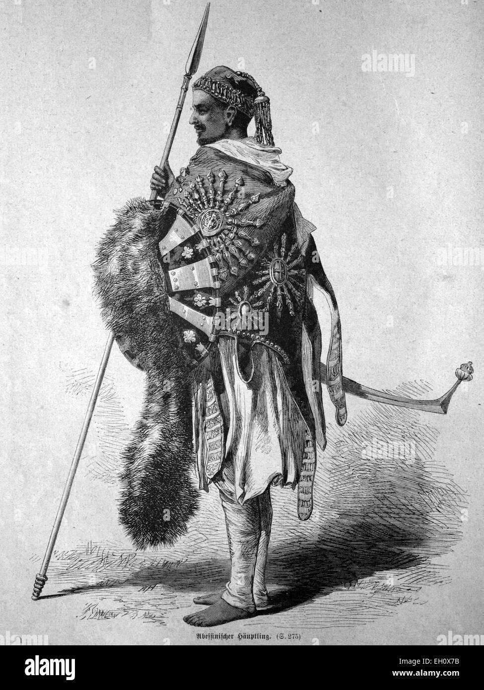 Abyssinian chieftain, Ethiopia, historical illustration, circa 1886 - Stock Image