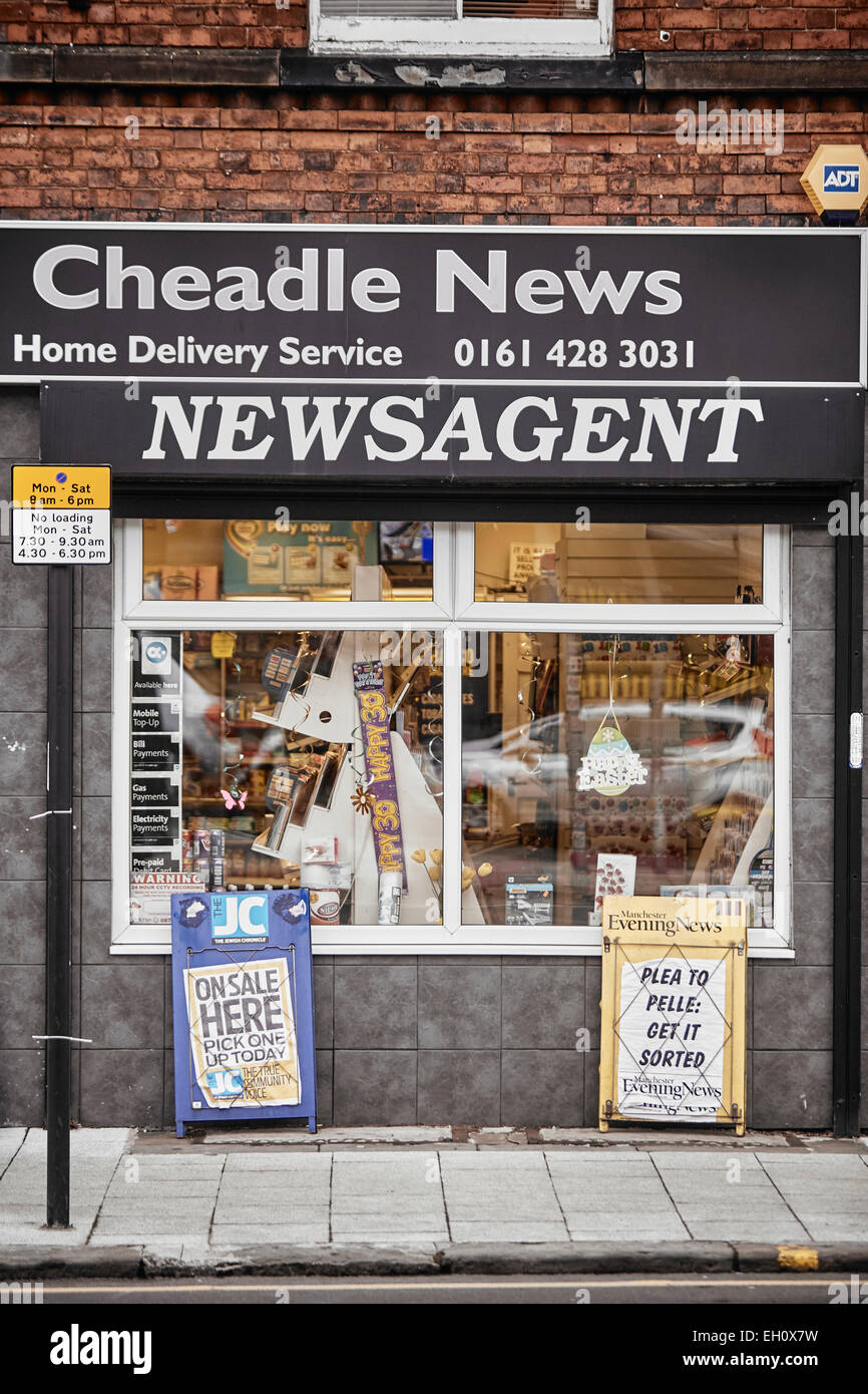 Stockport Manchester newsagent front exterior in Cheadle village - Stock Image