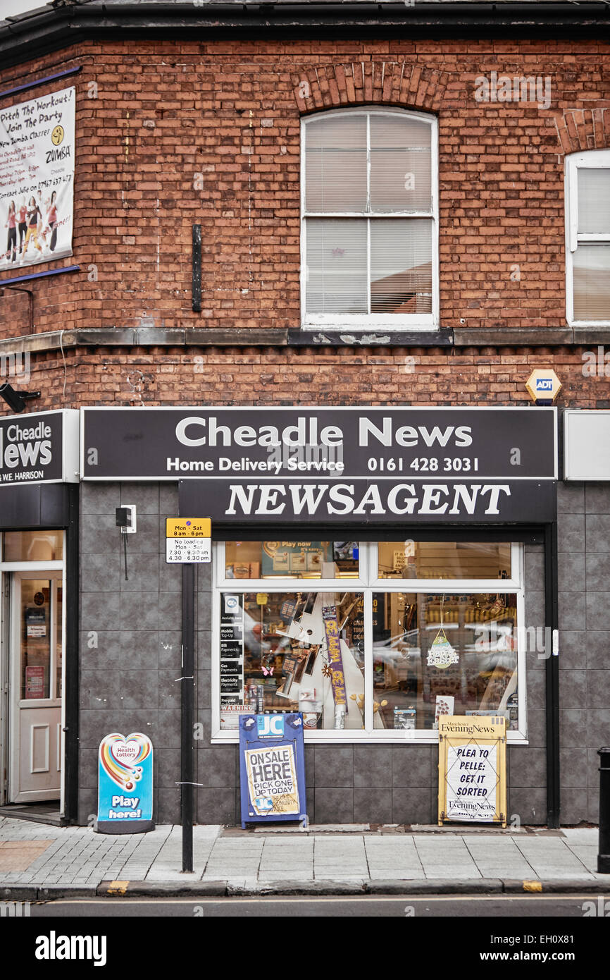 Stockport Manchester newsagent front exterior in Cheadle village Stock Photo