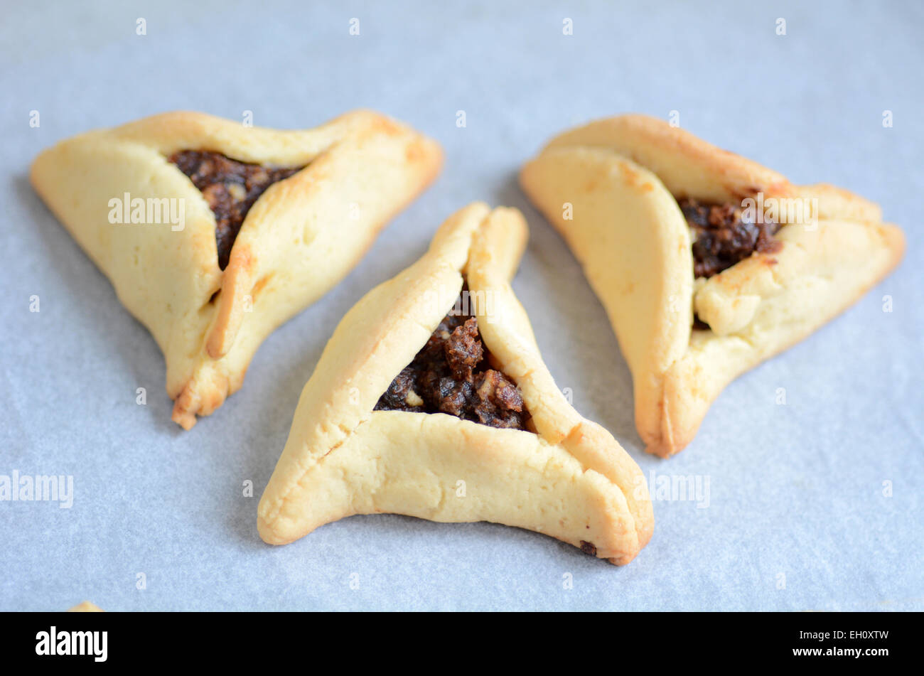 Backed Hamentashen, Ozen Haman, Purim cookies for the Jewish holiday Purim. - Stock Image