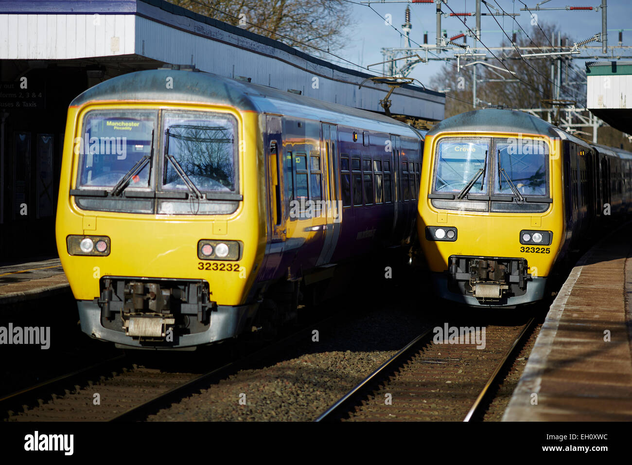 Railway units Local stopping trains at Wilmslow railway station - Stock Image