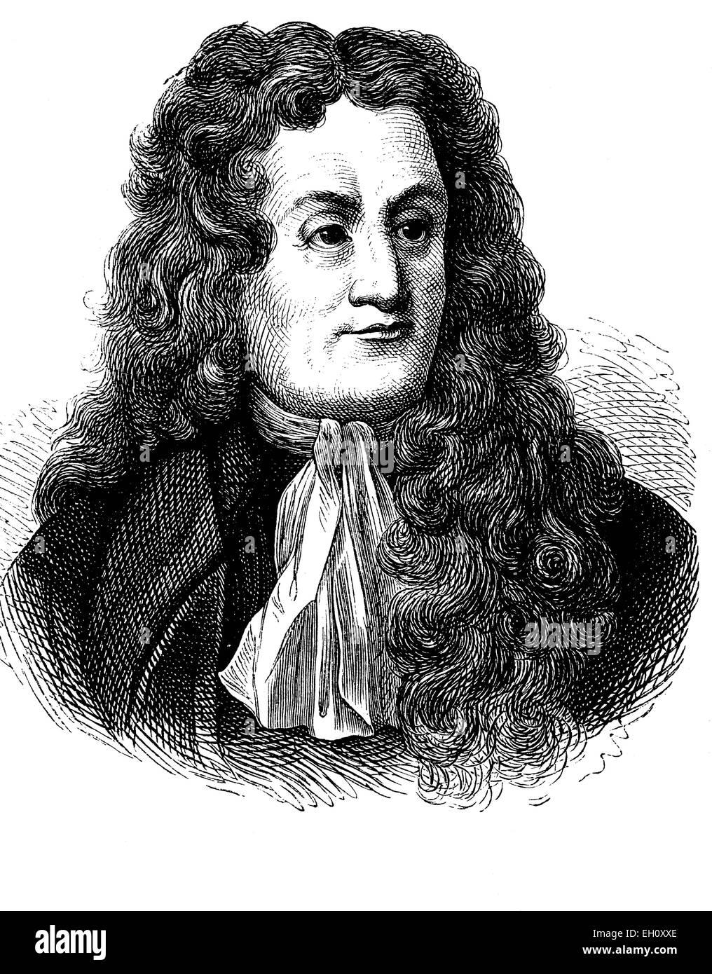 Jean de La Fontaine, 1621-1695, French writer, historical illustration, circa 1886 - Stock Image