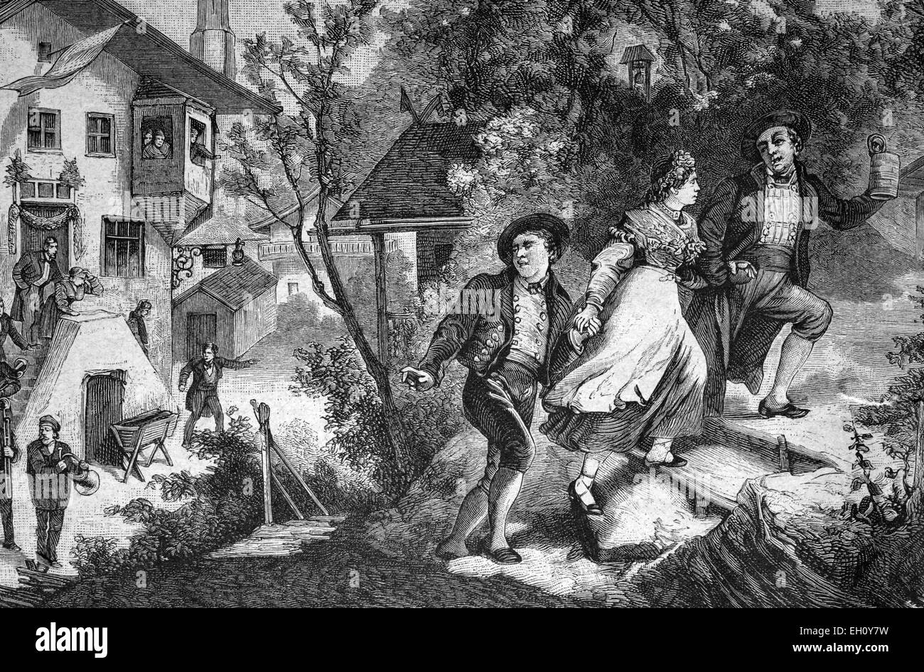 Traditional abduction of a bride in Upper Bavaria, Germany, historical illustration, circa 1886 - Stock Image