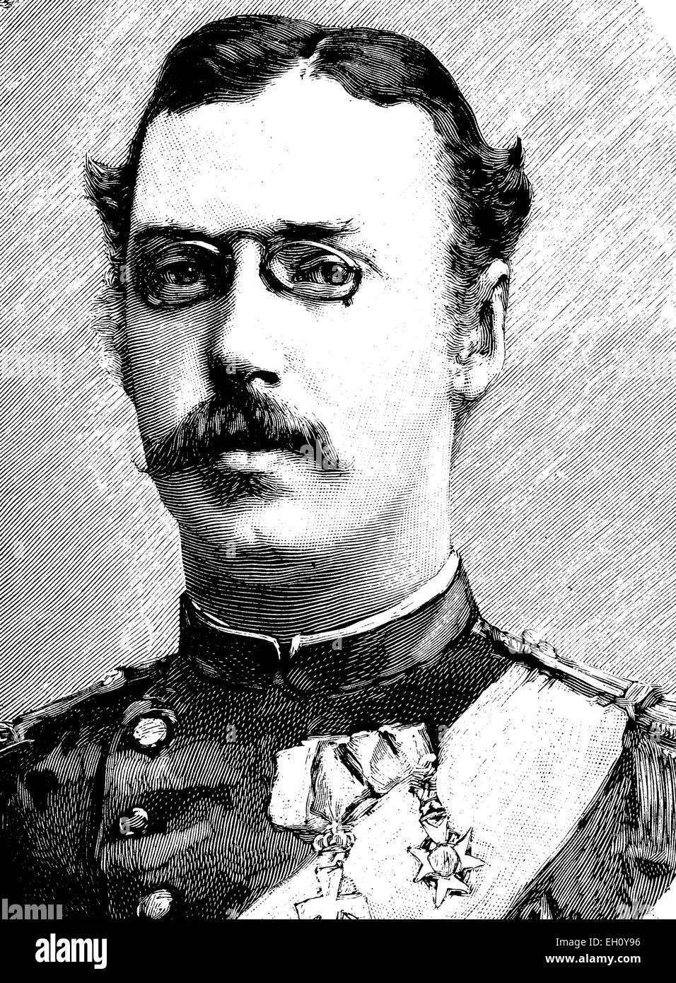 Prince Waldemar of Denmark (1858-1939), historical illustration, circa 1886 - Stock Image