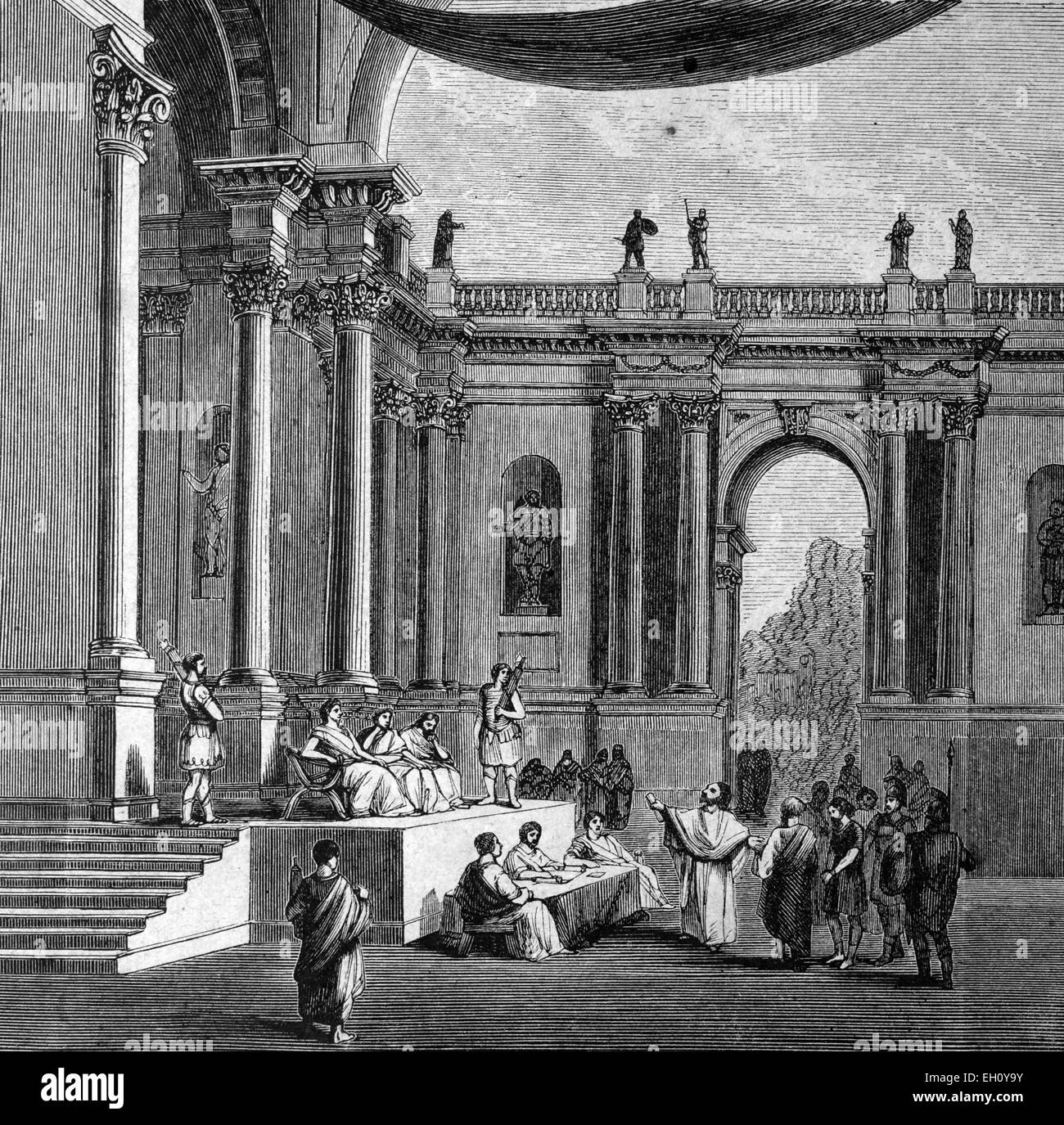 Hall of Justice in ancient Rome, Italy, historical illustration, circa 1886 - Stock Image