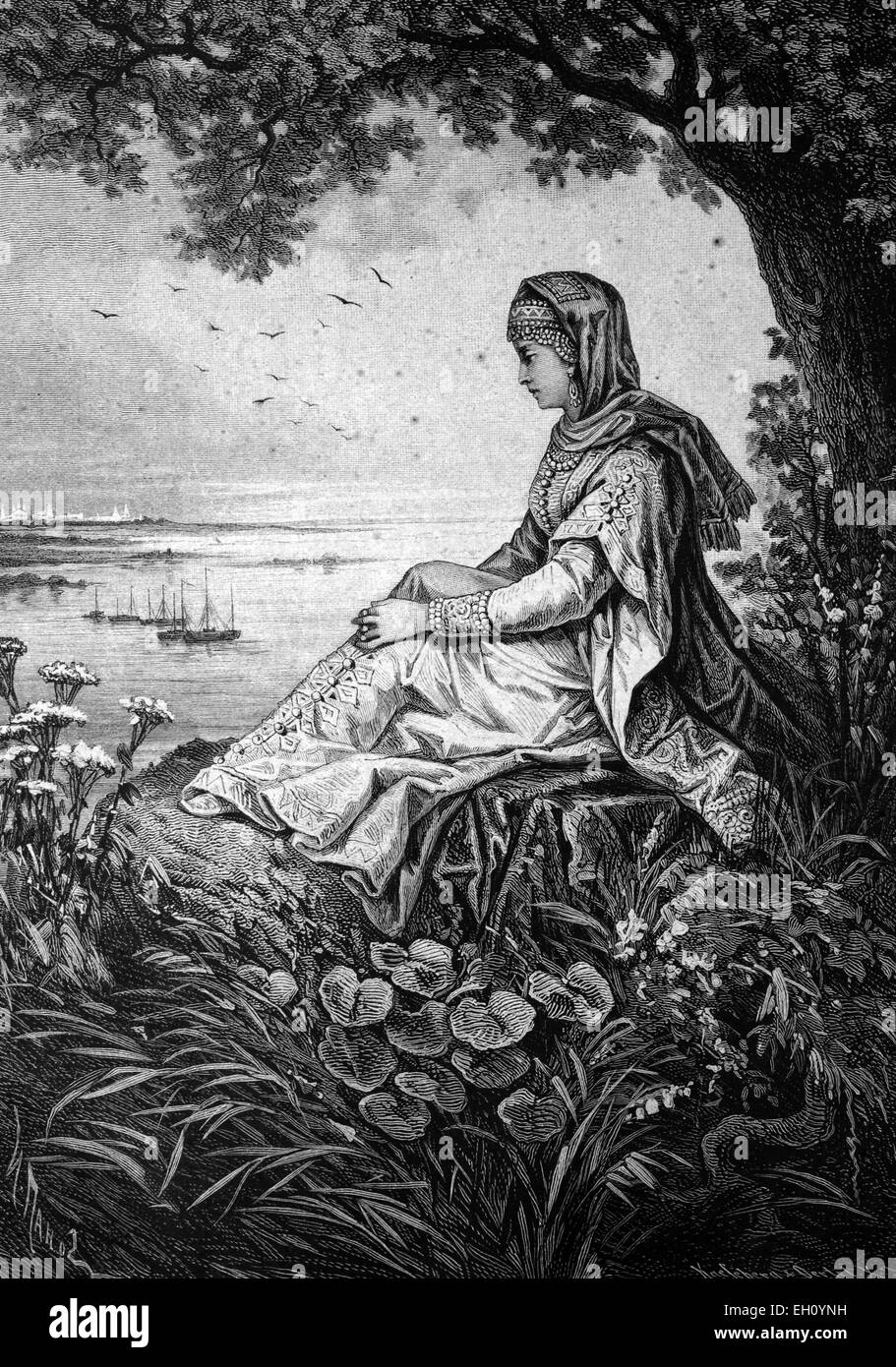 Russian Boyarina, 16th century, Historical illustration, circa 1886 - Stock Image