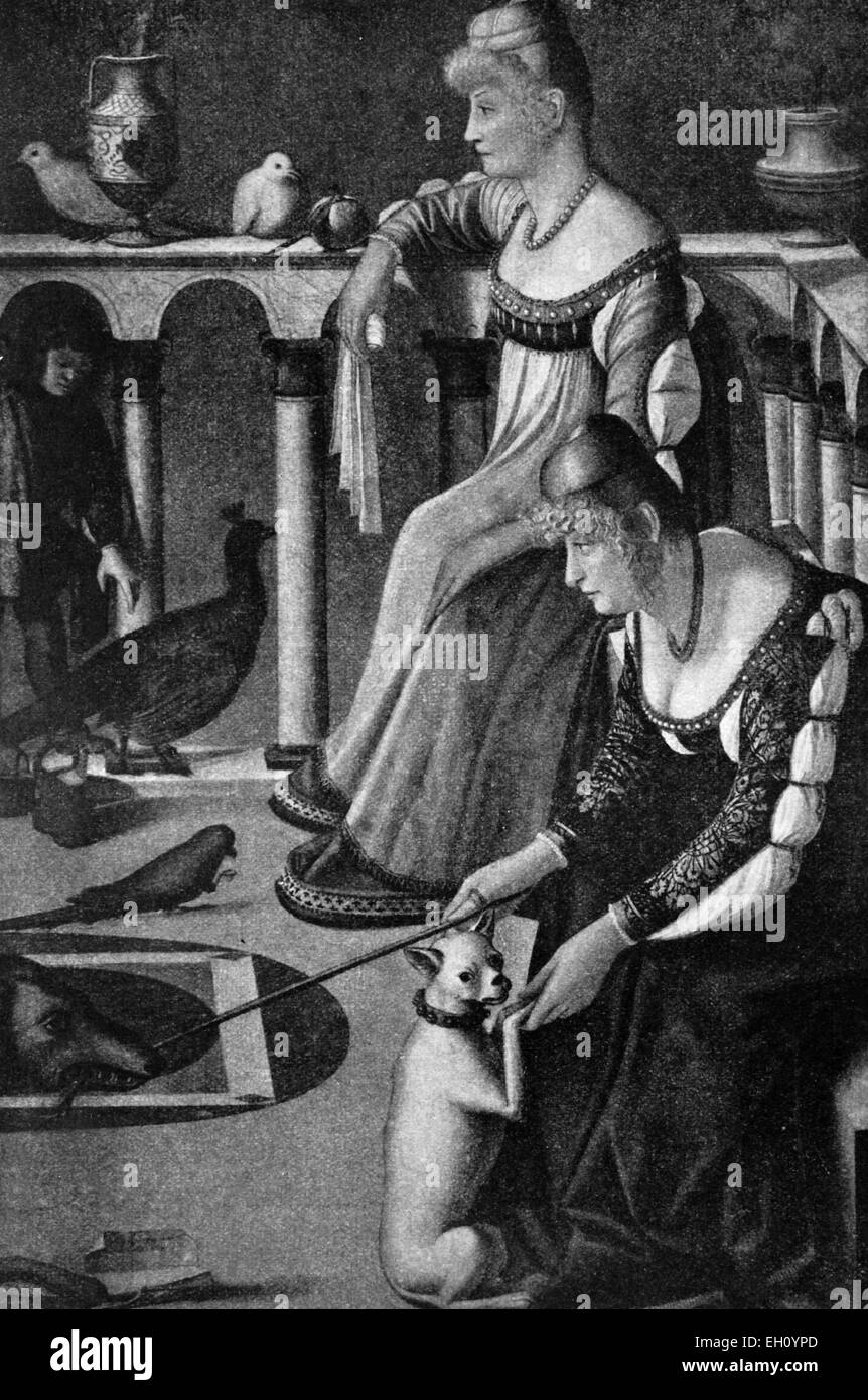 Venetian courtesans, after a painting by Carpaccio in the Venetian gallery, historical woodcut, about 1865 - Stock Image
